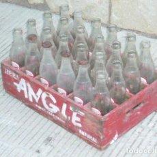 Coleccionismo Otros Botellas y Bebidas: CAJA MADERA COMPLETA CON 24 BOTELLAS LIMONADA ANGLE. Lote 208591926