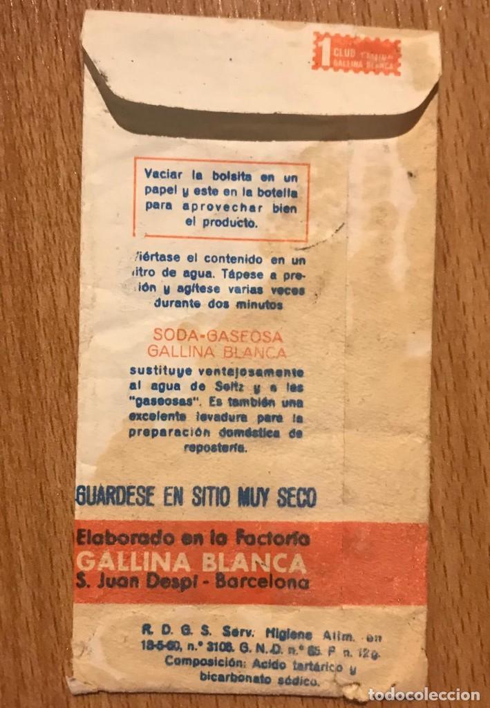 Coleccionismo Otros Botellas y Bebidas: GALLINA BLANCA ANTIGUO SOBRE DE SODA GASEOSA - Foto 2 - 208795300