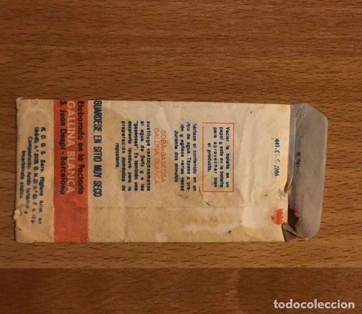 Coleccionismo Otros Botellas y Bebidas: GALLINA BLANCA ANTIGUO SOBRE DE SODA GASEOSA - Foto 3 - 208795300