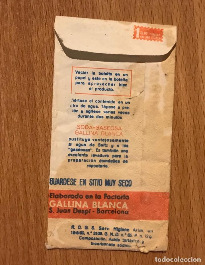 Coleccionismo Otros Botellas y Bebidas: GALLINA BLANCA ANTIGUO SOBRE DE SODA GASEOSA - Foto 4 - 208795300