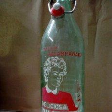 Coleccionismo Otros Botellas y Bebidas: ANTIGUA BOTELLA DE 1 LITRO GASEOSA ACHAMPAÑADA DUGARREF - ALGEMESI . VALENCIA . SERIGRAFIADA. Lote 210751102