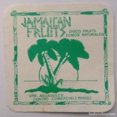 Coleccionismo Otros Botellas y Bebidas: POSAVASOS JAMAICAN FRUITS AGUADULCE ALMERIA. Lote 218746966