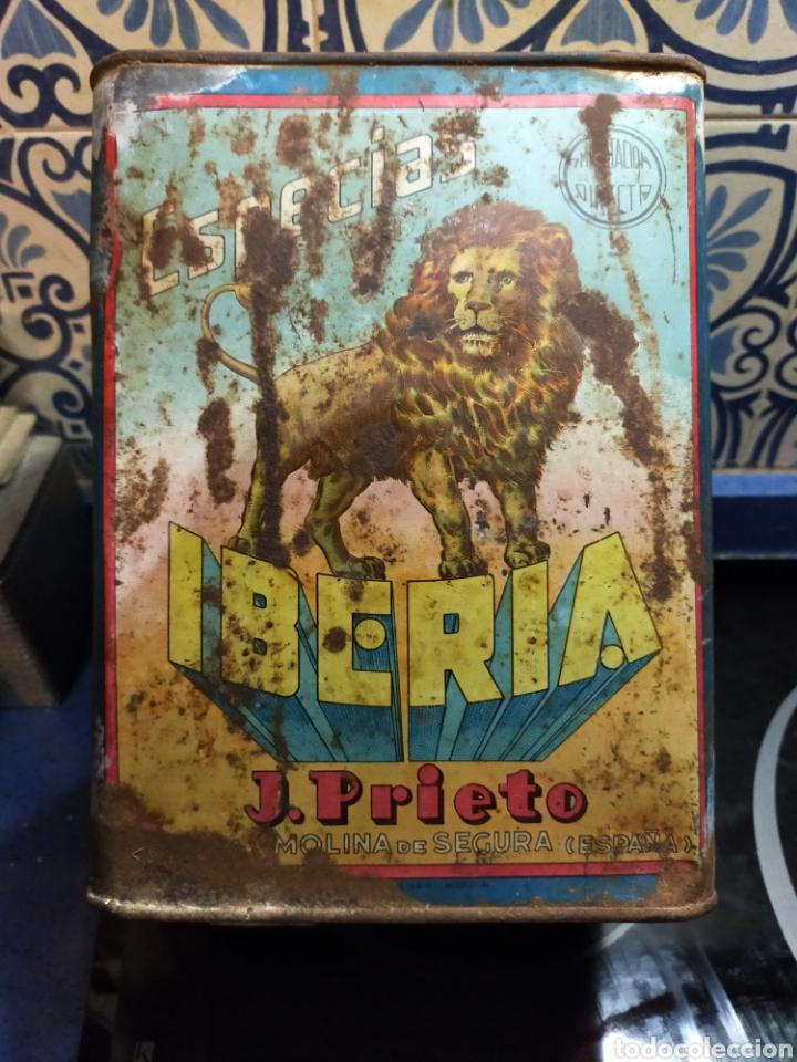 ANTIGUA LATA DE ESPECIAS IBERIA MOLINA DE SEGURA J.PRIETO (Coleccionismo - Otras Botellas y Bebidas )