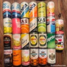 Coleccionismo Otros Botellas y Bebidas: COLECCION LATAS ANTIGUAS REFRESCO CERVEZA KAS MIRINDA TRINA FANTA ETC. PUBLICIDAD AÑOS 1980. Lote 266392663