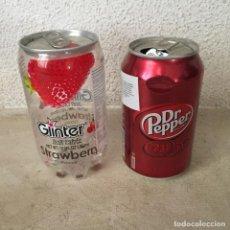 Coleccionismo Otros Botellas y Bebidas: 2 BOTES DE BEBIDA: GLINTER (MALASIA) Y DR. PEPER (POLONIA). Lote 270165883