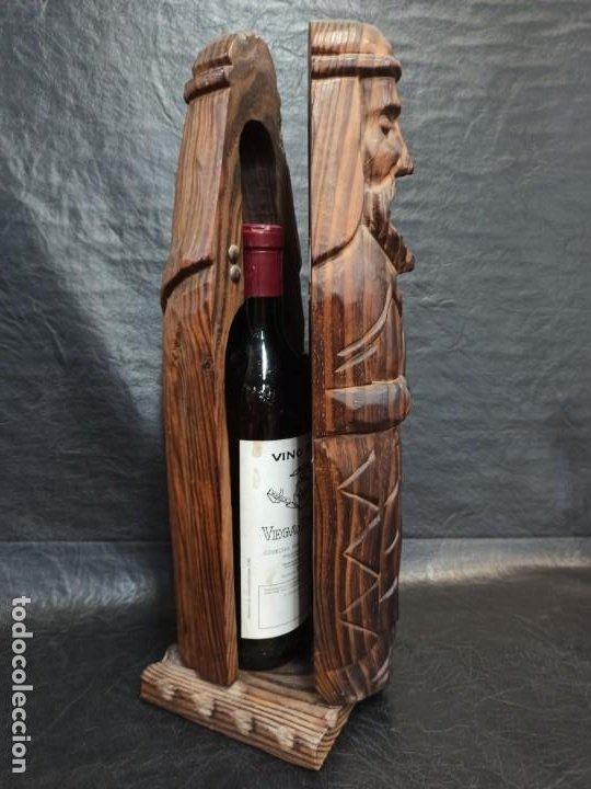 Coleccionismo Otros Botellas y Bebidas: Soberbio botellero realizado en madera tallada. Guerrero. PD - Foto 5 - 288608393