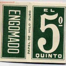Papel de fumar: PAPEL DE FUMAR EL 5º QUINTO VERDE ALCOY ALICANTE ORIGINAL. Lote 243901790