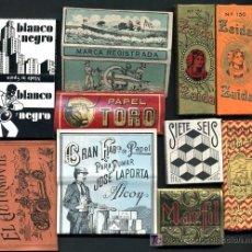 Papel de fumar: 100 PAPELES DE FUMAR ANTIGUOS ,10 DE CADA MODELO, ORIGINALES ALCOY, ALICANTE, PAPEL DE FUMAR. Lote 27125466