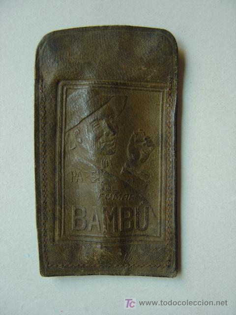 ANTIGUA FUNDA DE PIEL DE PAPEL DE FUMAR BAMBU (Coleccionismo - Objetos para Fumar - Papel de fumar )