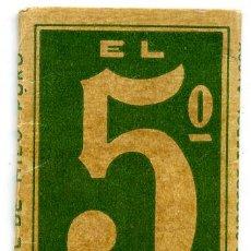 Papel de fumar: PAPEL DE FUMAR , EL 5º , ENGOMADO, HIJO DE G. GISBERT TEROL, ALCOY , ALICANTE. Lote 24519744