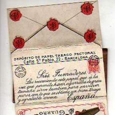 Papel de fumar: MUY INTERESANTE PAPEL DE FUMAR -LERIDA 1902 -DEPOSITO DE PAPEL TABACO PECTORAL-J G GUARRO. Lote 18290759