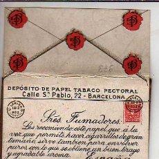 Papel de fumar: MUY INTERESANTE PAPEL DE FUMAR -LERIDA 1902 -DEPOSITO DE PAPEL TABACO PECTORAL-J G GUARRO. Lote 21162185