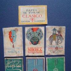Papel de fumar: 7 CAJAS DE CERILLAS (RECORTADAS) CON PUBLICIDAD DE PAPEL DE FUMAR CLASICO Y NIKOLA ( AÑOS 20 ). Lote 27461517