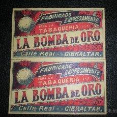 Papel de fumar: ETIQUETA PAPEL DE FUMAR TABACO CERILLAS - LA BOMBA DE ORO DE GIBRALTAR SIN USAR AÑOS 20. Lote 111765979
