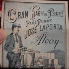 Papel de fumar: GRAN FÁBRICA DE PAPEL PARA FUMAR JOSÉ LAPORTA - ALCOY. Lote 25144738