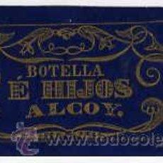 Papel de fumar: CUBIERTA DELANTERA DEL LIBRILLO DE PAPEL DE FUMAR BOTELLA E HIJOS, DE ALCOY (SIGLO XIX).. Lote 26505850