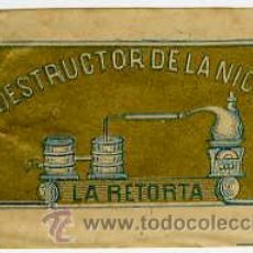 Papel de fumar: CUBIERTA DELANTERA DEL LIBRILLO DE PAPEL DE FUMAR LA RETORTA (SIGLO XIX).. Lote 26505948