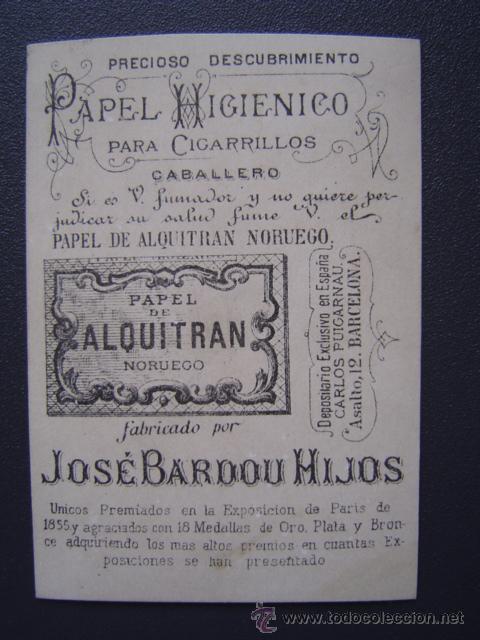 PAPEL DE ALQUITRAN NORUEGO DE JOSE BARDOU E HIJOS - BONITA CROMOLITOGRAFÍA CON PUBLICIDAD (Coleccionismo - Objetos para Fumar - Papel de fumar )