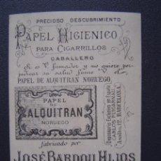 Papel de fumar: PAPEL DE ALQUITRAN NORUEGO DE JOSE BARDOU E HIJOS - BONITA CROMOLITOGRAFÍA CON PUBLICIDAD. Lote 27579056