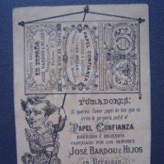 Papel de fumar: PAPEL DE FUMAR CONFIANZA DE JOSE BARDOU E HIJOS - BONITA CROMOLITOGRAFÍA CON PUBLICIDAD. Lote 27579101