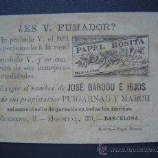 Papel de fumar: PAPEL DE FUMAR ROSITA DE JOSE BARDOU E HIJOS - BONITA CROMOLITOGRAFÍA CON PUBLICIDAD. Lote 27579349