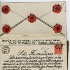 Papel de fumar: BARCELONA.- LIBRILLO PAPEL TABACO PECTORAL, TAMBIÉN PARA PUROS -COMPLETO-. . Lote 29426525
