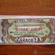 Papel de fumar: LIBRITO DE PAPEL DE FUMAR - PAPEL YODURADO DE ALEJANDRO PÉREZ ( ZARAGOZA ) - SIGLO XIX. Lote 29908853