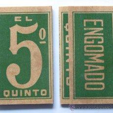 Papel de fumar: 2 LIBRITOS PAPEL FUMAR / EL QUINTO / PAPEL DE HILO PURO / NUEVO / GISBERT TEROL / ALCOY ALICANTE. Lote 172453908