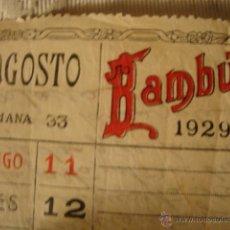 Papel de fumar: HOJA CALENDARIO DE PUBLICIDAD PAPEL FUMAR BAMBU. Lote 40157168