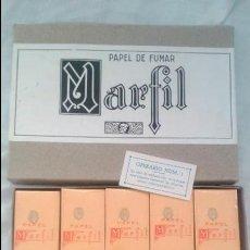 Papel de fumar: CAJA COMPLETA NUEVA AÑOS 30 PAPEL DE FUMAR MARFIL 10 MAZOS CORTE VICTORIA ALCOY PAPELERAS REUNIDAS . Lote 45571611