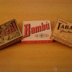 Papel de fumar: LOTE 3 LIBRILLOS DE PAPEL DE FUMAR TABACO SMOOKING,BAMBU Y MARFIL ANTIGUOS ALCOY. Lote 47899551