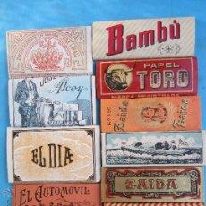Papel de fumar: LOTE DE 10 LIBRILLOS PAPEL DE FUMAR, JARAMAGO TORO ZAIDA CANOA BAMBU EL DIA EL BARCO EL AUTOMOVIL. Lote 150674484