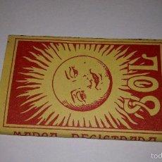 Papel de fumar: L950 ANTIGUO LIBRO LIBRILLO PAPEL DE FUMAR SOL, COMPLETO, IMPECABLE Y SIN USAR. ALCOY. Lote 55154262