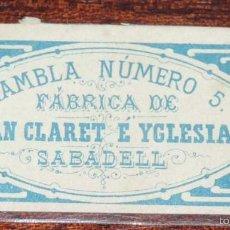 Papel de fumar: CARATULA PAPEL DE FUMAR, SIGLO XIX, RAMBLA NUMERO 5 FABRICA DE JUAN CLARET YGLESIAS, SABADELL, TAL . Lote 57253716