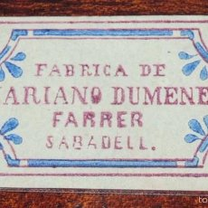 Papel de fumar: CARATULA PAPEL DE FUMAR, SIGLO XIX, FABRICA DE MARIANO DUMENECH FARRER, TAL COMO SE VE EN LA FOTO PU. Lote 57253880