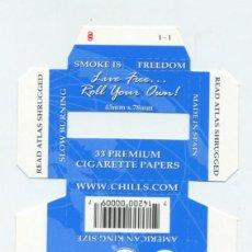 Papel de fumar: ESTUCHE DE PAPEL DE FUMAR CHILLS 1.1/4 AMERICANA. ALCOY. SIN DOBLAR. RARO.. Lote 57651936