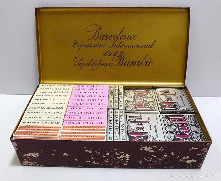 Papel de fumar: CAJA METALICA EXPOSICION INTERNACIONAL DE BARCELONA 1929 PAPEL DE FUMAR BAMBU - Foto 2 - 57809401