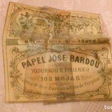 Papel de fumar: PAPEL DE FUMAR JOSÉ BARDOU - PERPIGNAN - 100 HOJAS - MUY ANTIGUO. Lote 66160278