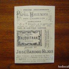 Papel de fumar: PAPEL DE ALQUITRAN NORUEGO DE JOSE BARDOU E HIJOS - BONITA CROMOLITOGRAFÍA CON PUBLICIDAD. Lote 66993206