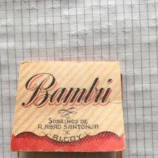 Papel de fumar: PAPEL DE FUMAR BAMBU SOBRINOS DE R.ABAD SANTONJA ALCOY. Lote 67353685