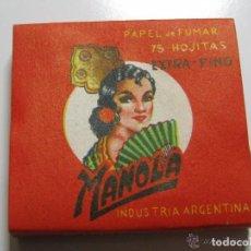 Papel de fumar: PAPEL DE FUMAR MANOLA ARGENTINA 75 HOJAS. Lote 132435589