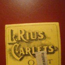 Papel de fumar: RIUS CARLET. Lote 84543264