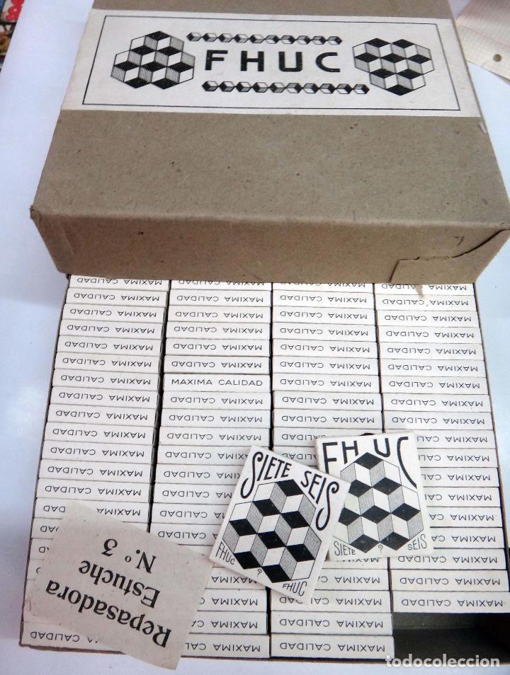 PAPEL DE FUMAR FHUC SIETE SEIS , ALCOY ALICANTE , CAJA CON 100 PAQUETES , ANTIGUOS, ORIGINALES (Coleccionismo - Objetos para Fumar - Papel de fumar )