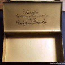 Papel de fumar: BAMBÚ EXPOSICIÓN INTERNACIONAL SEVILLA 1929. CAJA METAL. Lote 88367180