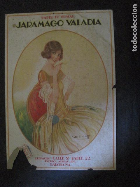 PAPEL DE FUMAR JARAMAGO VALADIA-CARTEL CARTON 33 X 48 CM-ILUSTRADO POR CERVELLO-VER FOTOS-(V-11.753) (Coleccionismo - Objetos para Fumar - Papel de fumar )