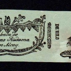 Papel de fumar: ANTIGUA ENVOLTURA DE PAPEL DE FUMAR.FÁBRICA DE LORENZO RIDAURA.ALCOY.SIGLO XIX.. Lote 95262339