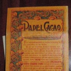 Papel de fumar: CUADERNO DPAPEL DE FUMAR PAPEL CACAO JOSE LAPORTA VALOR ALCOY ALICANTE TABACO FUMADOR, EDITADO POR. Lote 95984079