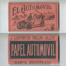 Papier à rouler: EL AUTOMOVIL ANTIGUO LIBRILLO DE PAPEL LIAR PAPER FUMAR J LAPORTA VALOR ALCOY MARCA REGISTRADA NUEVO. Lote 63990627