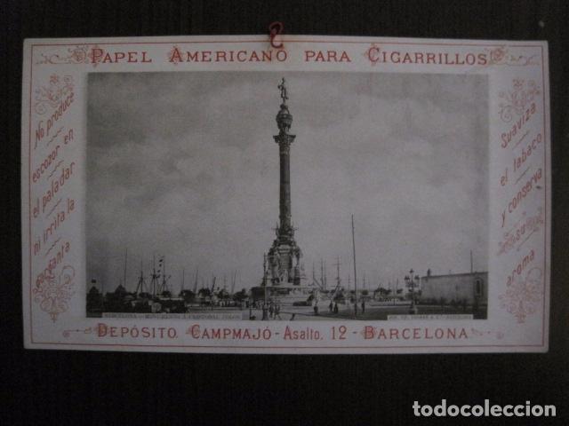 PAPEL DE FUMAR AMERICANO PARA CIGARRILLOS-CAMPMAJO-BARCELONA -PEQUEÑO CARTEL- VER FOTOS - (V-12.750) (Coleccionismo - Objetos para Fumar - Papel de fumar )