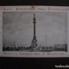 Papel de fumar: PAPEL DE FUMAR AMERICANO PARA CIGARRILLOS-CAMPMAJO-BARCELONA -PEQUEÑO CARTEL- VER FOTOS - (V-12.750). Lote 104391727